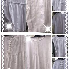 真っ白チェニック/夏物ファッション/PART① 朝から真っ白のチェニックを漂白して干して…
