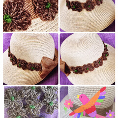 コロナ退散‼️/帽子を👒素敵リメイク/麻紐で花モチーフ🌼/ハンドメイド/100均/キープディスタンス/... 今日は麻紐を使って花のモーフ🌼編んで別の…