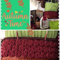 カゴをリメイク麻紐コイル編み えんじ色麻紐コイル編み完成❣️ 苺🍓にし…
