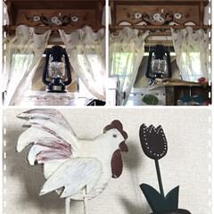 ニワトリ/シェルフの上を飾る この間トールペイントのシェルフ私の部屋の…