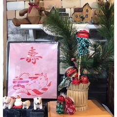 お正月、還暦飾り付け 最後は還暦と正月飾りコーナー、獅子舞を沢…(1枚目)