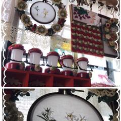 洋服リメイク/刺繍枠で飾る/刺繍枠/100均/セリア 連投ごめんなさい🙇♀️ 先程の刺繍枠リ…