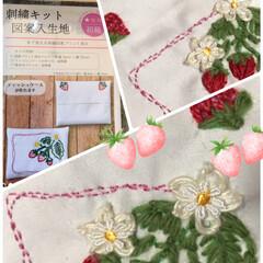Seria/100均刺繍キット/ハンドメイド やる事早い苺グッチ🍓さん刺繍終わりました…
