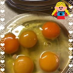 怪しい電話/卵🥚の黄身色々 夕食に玉葱、ひき肉、ピーマンを入れてオ…