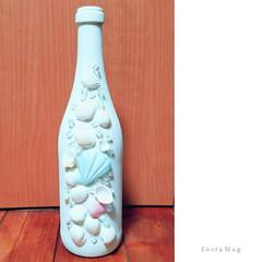 100均リメイク/リメイク/DIY/貝殻/海/空き瓶/... 空き瓶DIY♪ ホワイトにペイントし、1…