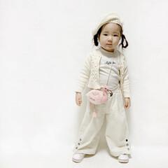 フラミンゴ/西松屋/ZARA/ザラ/ホワイト/3歳/... #ホワイトコーデ  フラミンゴカフェに行…