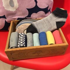 靴下/下着収納/靴下収納/ソックス収納/靴下ボックス/見せる収納/... 私の靴下収納。  カバーソックスは、買っ…