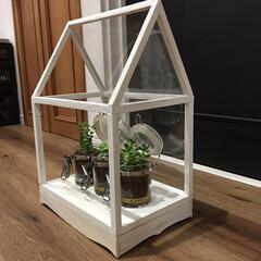 セリア/見せる収納/生活の知恵/収納/雑貨/暮らし/... お家型の飾り棚を作ってみました。 足元の…