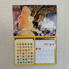 カレンダー/100均グッズ/ディズニー/プリンセス/シール/最近買った100均グッズ ディズニーカレンダーに動物シールを貼って…