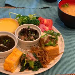 玄米/ワンプレート/エッグタルト/お腹に優しい/ヘルシー/おうちカフェ デザートにエッグタルト! 健康朝ごはん