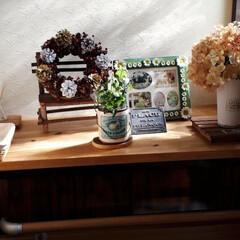 カフェ板/玄関/我が家の庭/紅葉 玄関の下駄箱の上にカフェ板を乗せてみまし…