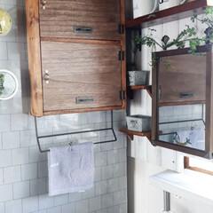 洗面台/DIY/セリア 我が家には洗面所がありません。なのでキッ…