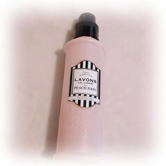 ラボン 柔軟剤 シークレットブロッサム ピーチジョンコラボシリーズ 600ml | ビラボン(柔軟剤)を使ったクチコミ「ピンクのボトルにストライプ柄の 可愛い容…」