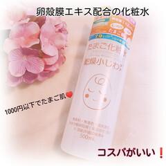 ココエッグ リンクルローション たまご化粧水 500ml(化粧水)を使ったクチコミ「「卵殻膜エキス」配合で、目元や口元の 乾…」