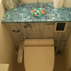 トイレリメイク/トイレタンクレス/リメイクシート/ベニヤ板/100均/DIY 我が家のトイレをタンクレス風にDIY♪(…(1枚目)