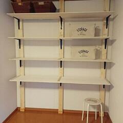 DIY収納 ディアウォールを使って大きめの棚を作成。…