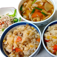 里芋/秋味/ごぼうサラダ/芋煮汁/味付け御飯