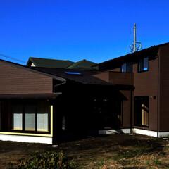 和モダン/中庭/テラス/中庭テラス/ガーデニング/片流れ屋根/... 丘の上の木薫る家 バタフライ型外観の家、…