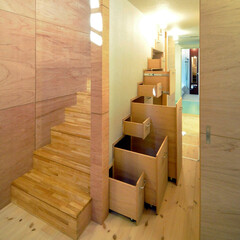 インテリア/北欧インテリア/階段収納/収納/家事室/階段/... 丘の上の木薫る家 階段収納、家事室に設け…