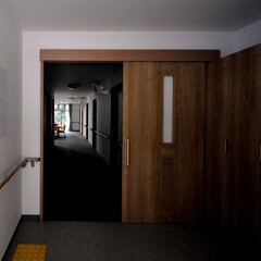 インテリア/福祉施設/玄関/廊下/リビングダイニング/北欧インテリア/... 丘の上の小規模多機能福祉施設 バリアフリ…
