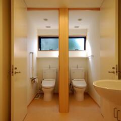 インテリア/トイレ/ハイサイドライト/棚/北欧インテリア/新築/... トイレ2つ、ハイサイドライトと棚