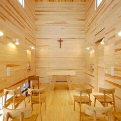 インテリア/教会/礼拝堂/ハイサイドライト/北欧インテリア/新築/... 木と光の小さな教会 礼拝堂 ハイサイドラ…