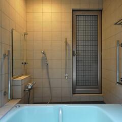 インテリア/風呂/バスタブ/バリアフリー/タイル/陶板/... 陶板と景色とバリアフリーのお風呂にリフォ…