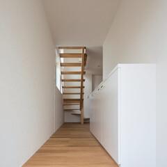 インテリア/玄関/ポーチ/ホール/北欧インテリア/新築/... コンパクトで可愛い家 玄関と木製スケルト…