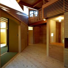 インテリア/北欧インテリア/吹抜け/ロフト/リビングダイニング/家事室/... 丘の上の木薫る家 リビングダイニング、吹…