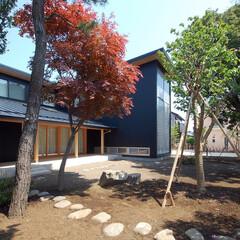 縁側/テラス/中庭/二世帯/ガルバリュウム鋼板/木製建具/... 縁側でのんびり暮らす家 軒の深い縁側が静…