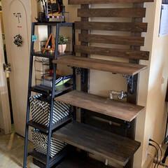 ディスプレイ棚/簡単/おしゃれ 飾り棚を作ってみました。 2×4の突っ張…