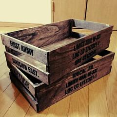 工具箱/コンテナ/収納BOX/ステンシル/DIY/雑貨/... セリアの木板とダイソーのすのこで工具箱を…