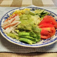 おうちご飯/お気に入りの食器/こだわりのテーブル 栄養満点、具だくさん冷やし中華です