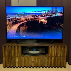 テレビボード ついにテレビ台完成。天板はざらざらしてた…(4枚目)