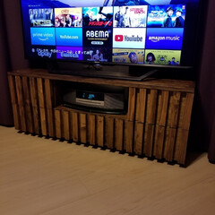 テレビボード ついにテレビ台完成。天板はざらざらしてた…(2枚目)