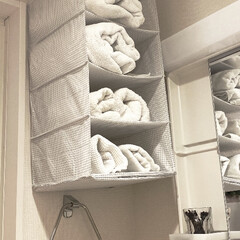 収納/洗面所/脱衣室/タオル 「吊り下げ収納✖️伸縮ポール」で洗面所空…