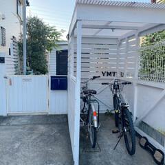 駐車場/玄関/ハンドメイド/収納/雑貨/DIY/... DIYした自転車置き場
