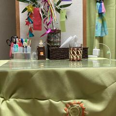 フェイクグリーン ドウダンツツジ 単品花材 H115   PRIMA(人工観葉、フェイクグリーン)を使ったクチコミ「ワンルームで引っ越したばかり、机兼用キッ…」(1枚目)