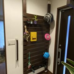 玄関にディアウォール/DIY/おしゃれ ディアウォールして塗装。小物入れと階段、…(2枚目)