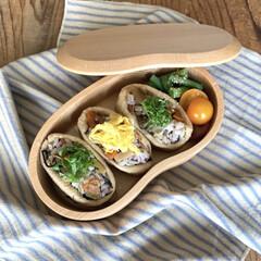 おうち時間/ランチボックス/お弁当/ランチ/お弁当箱/おしゃれ弁当箱 そら豆の形のお弁当箱を使っています。 優…(1枚目)