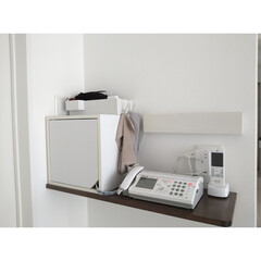 一時置き場/充電コーナー/長押/壁に付けられる家具/ルーター収納/カインズ/... 備え付けの電話台にキューブボックスを使っ…