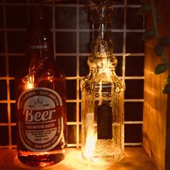 インテリアライト/セリア/100均 100均の瓶にLEDライトを入れて…。め…