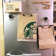 冷蔵庫/プリント/書類/100均/ダイソー/収納/... 紙袋で冷蔵庫のプリントを目隠し!