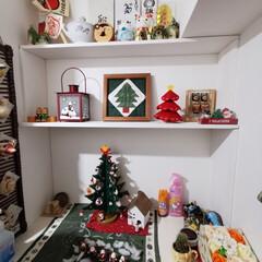 マンション玄関/DIY/クリスマス/棚/手作り マンションの玄関下駄箱の上に棚を2段造り…