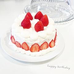 リュミナーク ガラス ケーキドーム 41415 8331100(皿)を使ったクチコミ「先日は旦那さんのお誕生日  市販のモント…」