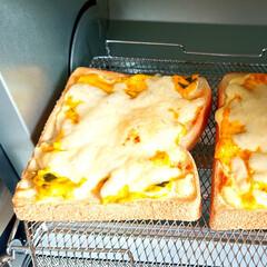 オーブントースター こんがり倶楽部 EQ-AG22-BA(ブラック) | 象印(トースター)を使ったクチコミ「今日の朝ごはん かぼちゃサラダトースト …」