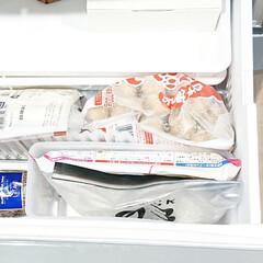 パイシート/ピザ生地/ジップバッグ/保存袋/100均収納/収納ケース/... 【冷凍庫収納】  いつも収納ケースを 買…