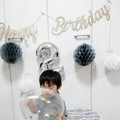 飾り付け/フォトブース/ダイソーパトロール/ダイソー購入品/DAISO/ダイソー/... 今更ながら 2才のお誕生日フォト  ドタ…