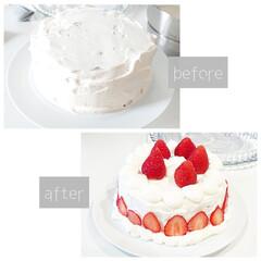 リュミナーク ガラス ケーキドーム 41415 8331100(皿)を使ったクチコミ「先日は旦那さんのお誕生日  市販のモント…」(2枚目)