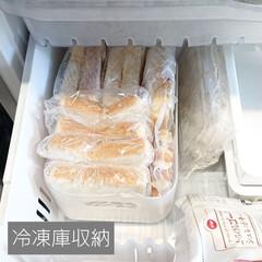 食パン/パン/冷凍庫収納/冷凍庫/100均収納/積み重ねケース/... 【冷凍庫収納】 パンの収納コーナー  ス…